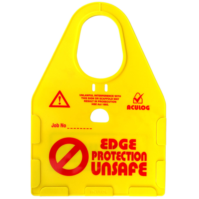 edge protection unsafe yellow card holder